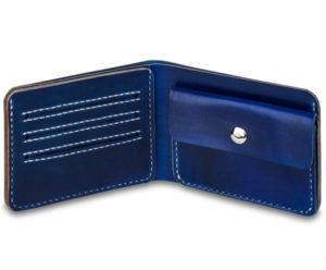 Ručně šitá a barvené kožená peněženka v01