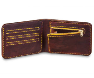Ručně šitá kožená peněženka v02